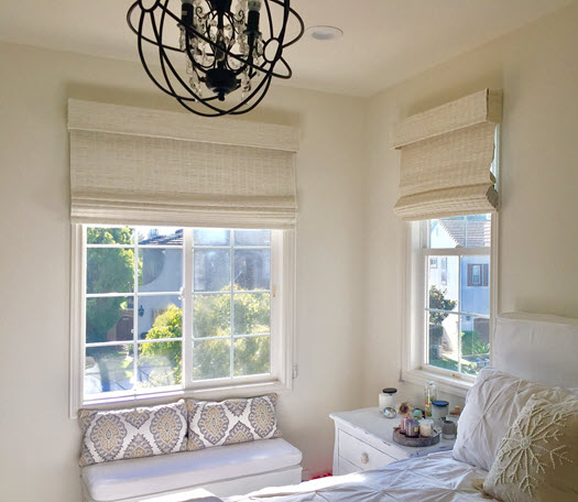 White Woven Shades in Huntington Beach