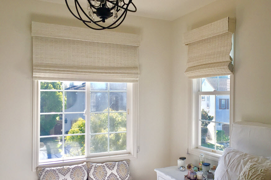 White Woven Shades in Porter Ranch CA