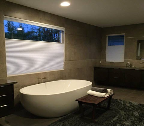 Custom Shades for Home Windows Near Huntington Beach & Irvine, California (CA) like Roman in Bathrooms