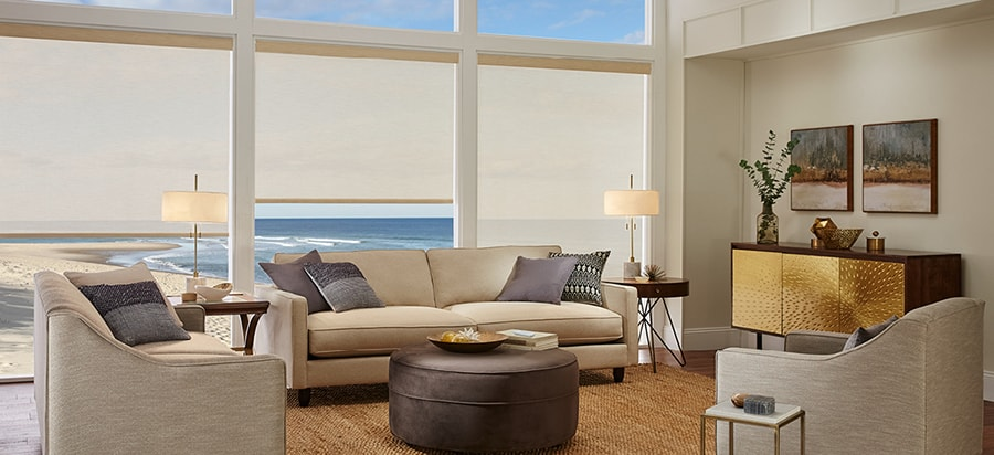 Custom Shades for Home Windows Near Huntington Beach & Irvine, California (CA) in Designer Living Rooms